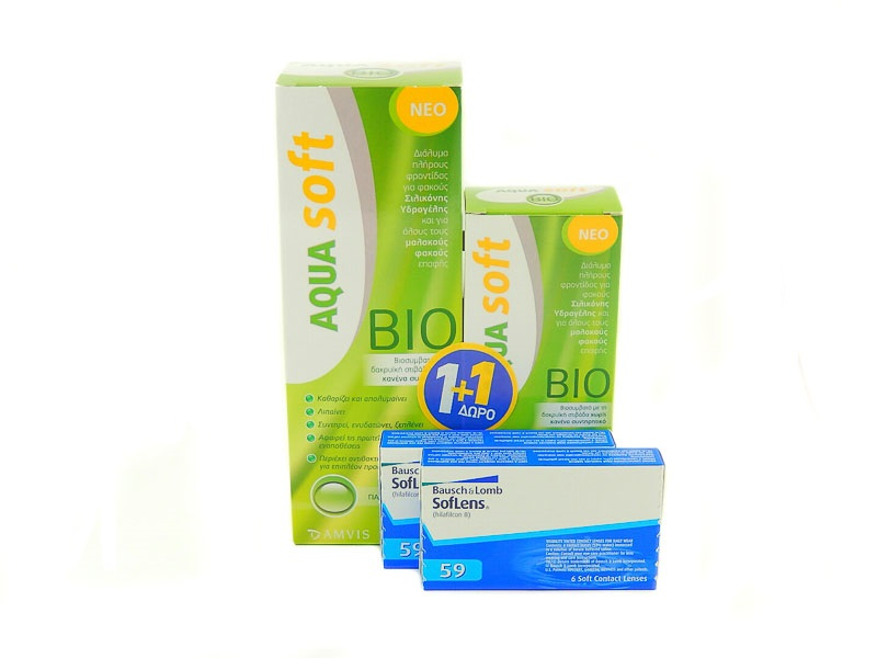 Aquasoft Bio 380ml + 60ml Δώρο + 2 Χ Soflens 59 (6 pack ... b79ffd3076d